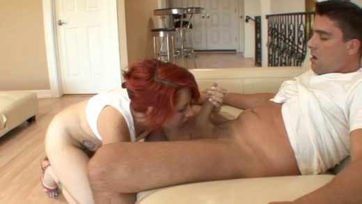 Redhead slut gets her pussy chowed down